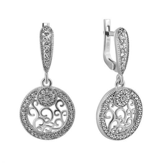 Срібні сережки з білим камінням Роксолана
