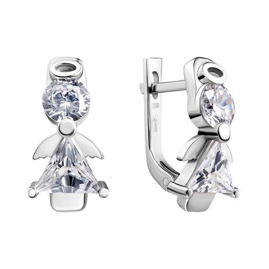 Срібні срежки з камінням Ангел