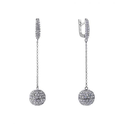 Серебряные серьги с подвесами Сфера