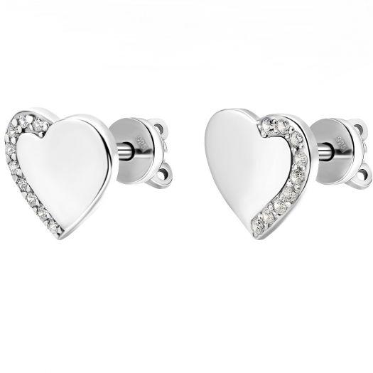 Срібні сережки зі вставками цирконію Сердечки