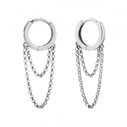 Срібні сережки з ланцюжком Модерн