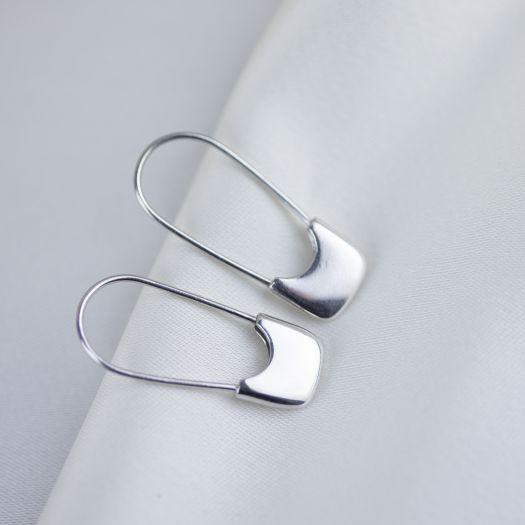 Срібні сережки без вставок Бегз