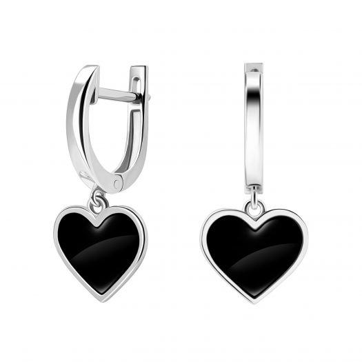Серебряные серьги с черной эмалью Сердечко