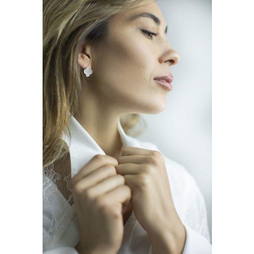 Срібні сережки з камінням Чотирилисник
