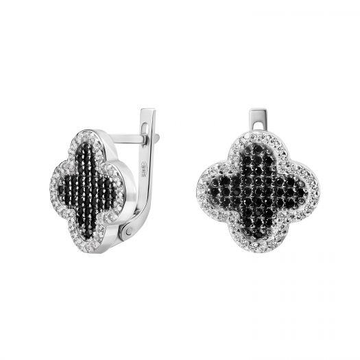 Серебряные серьги с черно-белыми камнями Клевер