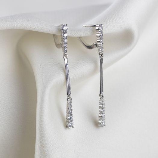 Серебряные серьги Водопад