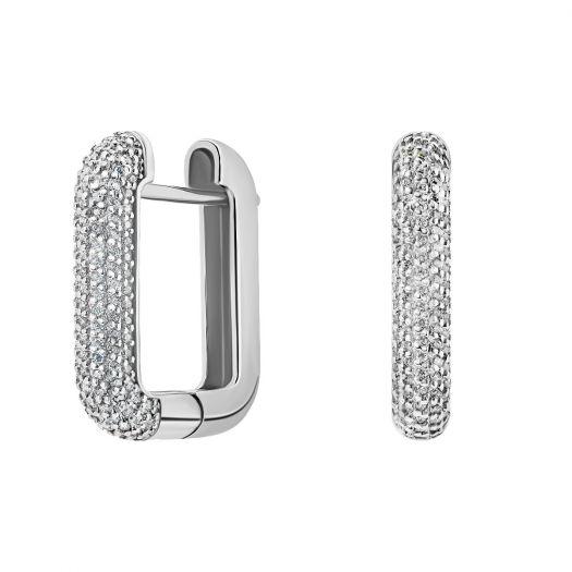 Срібні сережки з білим камінням Бездоганність