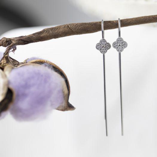 Срібні сережки-протяжки Чотирилисник