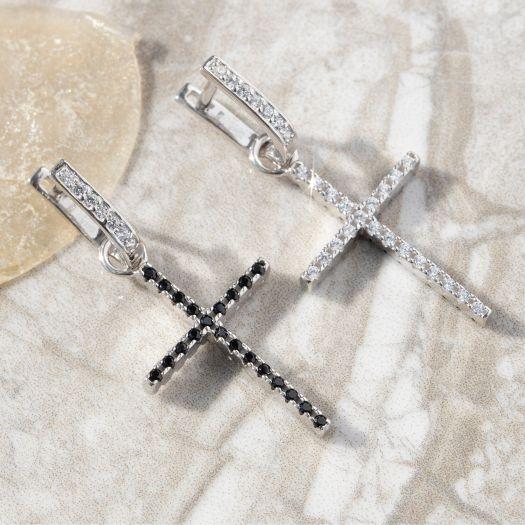 Срібні сережки-джекети двосторонні Витонченість