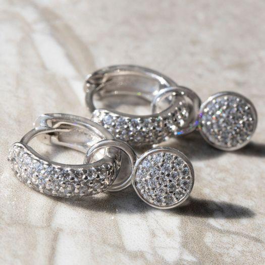 Срібні сережки-джекети Проблиск