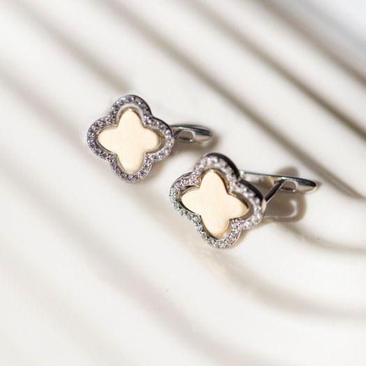 Срібні сережки з позолотою Чотирилисник