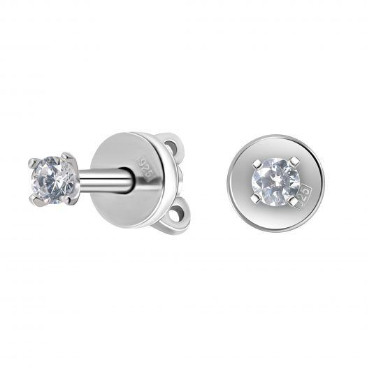 Серебряные серьги-гвоздики с цирконием Молли