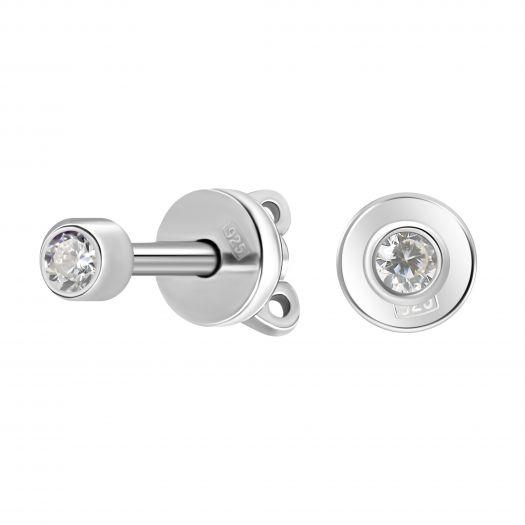 Серебряные серьги-гвоздики с цирконием Мисс