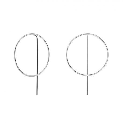 Срібні сережки конго на паличці Намір 35 мм