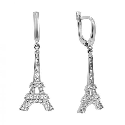 Серебряные серьги с подвесом Эйфелева Башня