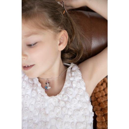 Срібна підвіска дитяча з емаллю Мінні Маус