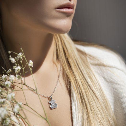 Серебряный подес с камнями Swarovski Тедди