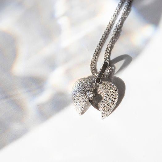 Срібна підвіска Відкрите серце