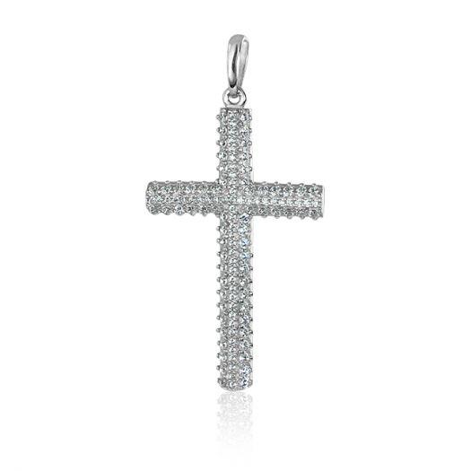 Серебряный крестик с камнями Святая Моника