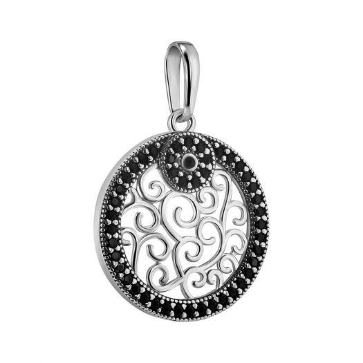 Серебряная подвеска с черными камнями Роксолана