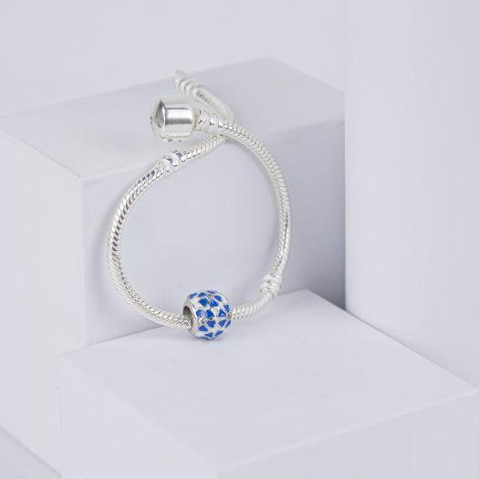 Срібний шарм із синьою емаллю Настрій