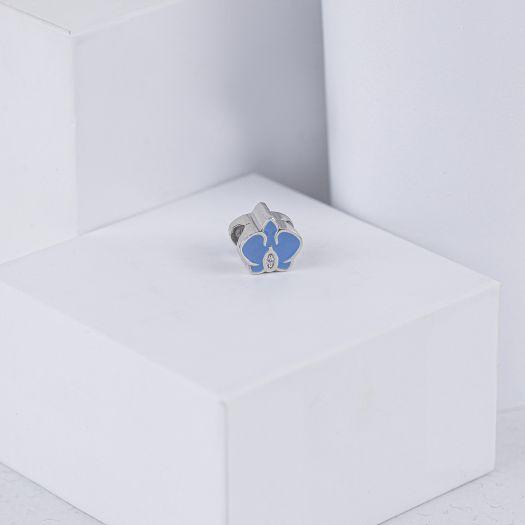 Серебряный шарм с голубой эмалью Орхидея
