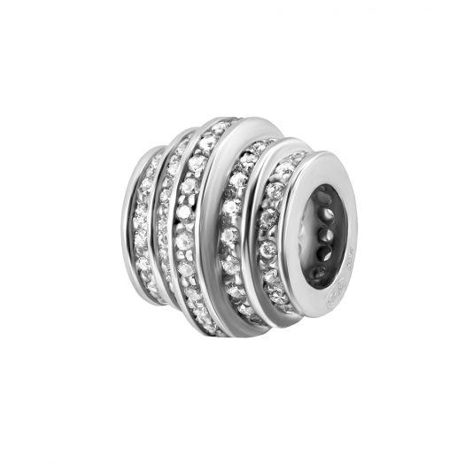 Срібний шарм з білим камінням Спіраль