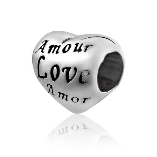 Срібний шарм у формі серця Amor