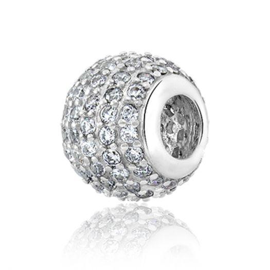 Срібний шарм з білим камінням Кулька