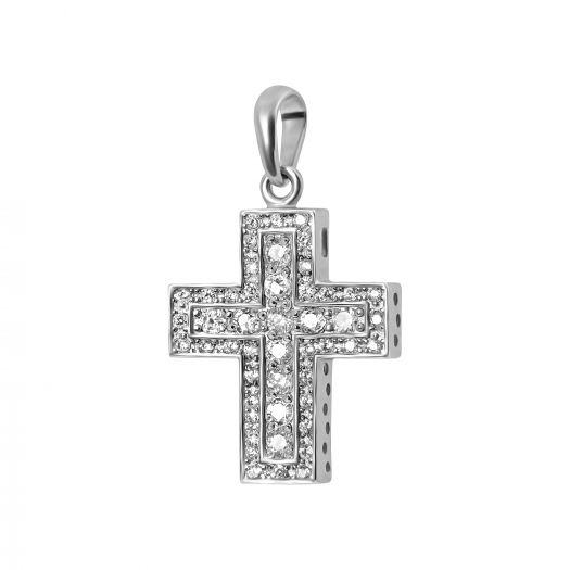 Срібний хрестик с білим камінням Венді