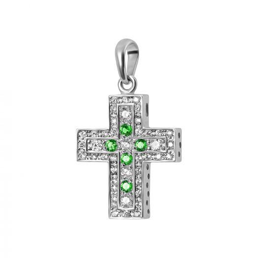 Срібний хрестик із зеленим камінням Венді