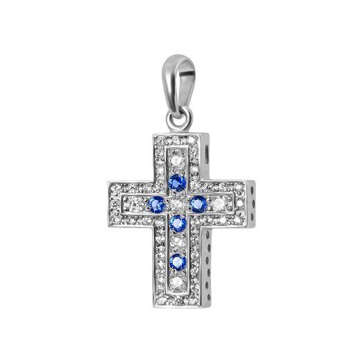 Серебряный крестик с синими камнями Венди