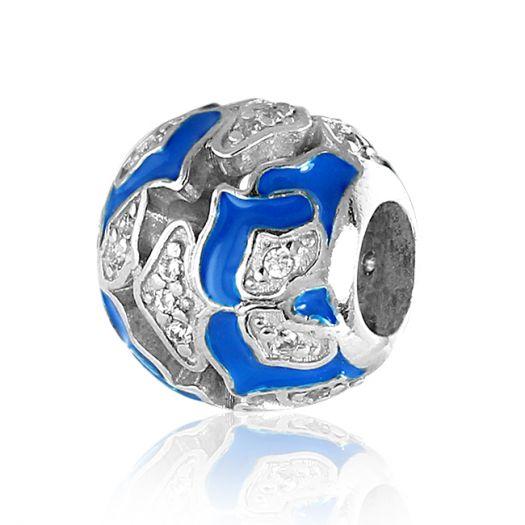 Срібний шарм із синьою емаллю Незабудка
