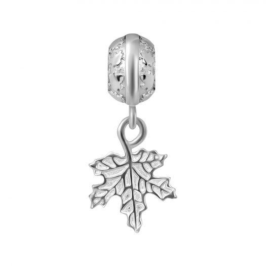 Серебряный шарм с подвесом Кленовый лист