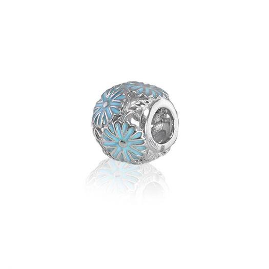 Серебряный шарм с голубой эмалью Ромашка