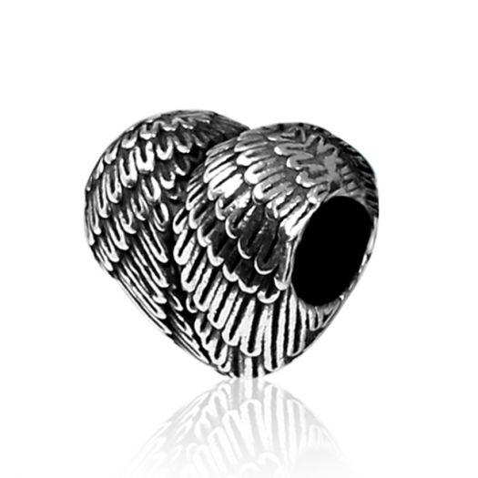 Серебряный шарм в форме сердца Крылья