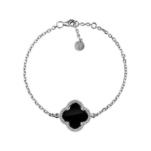 Срібний браслет з оніксом Чотирилисник