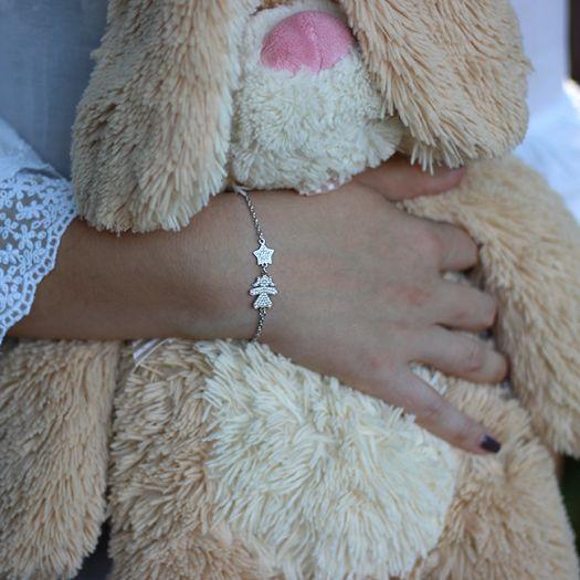 Серебряный мама-браслет Дочка-звездочка