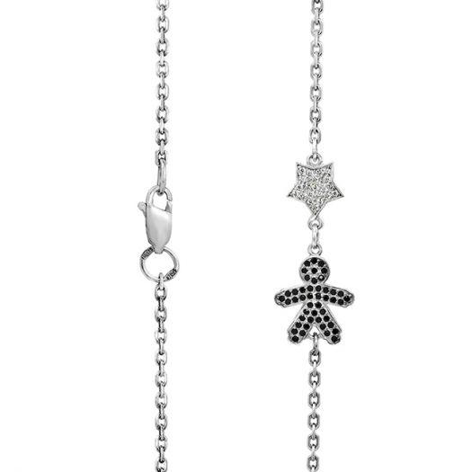 Срібний мама-браслет Синочок-серденькоз чорним кам