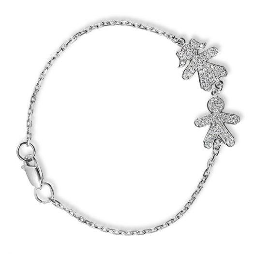 Срібний мама-браслет з камінням Синочок та донечка