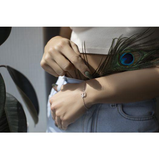 Срібний браслет Кіт на місяці