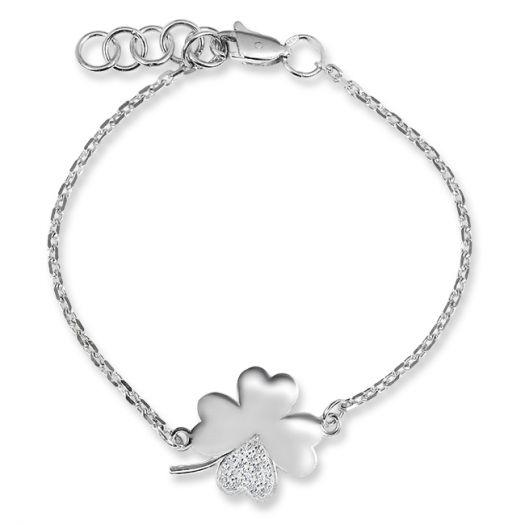 Срібний браслет з білим камінням Чотирилисник