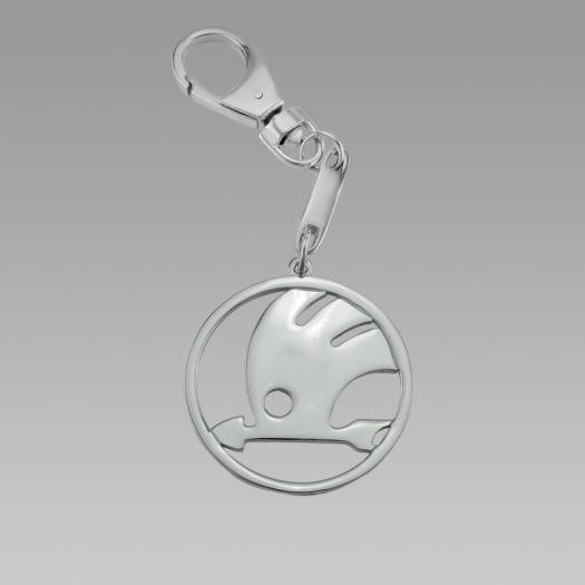 Срібний брелок для автомобіля Шкода