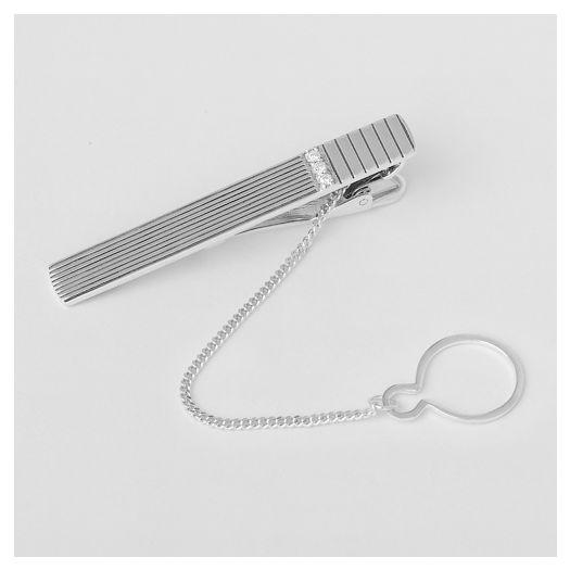 Серебряный зажим для галстука Струны