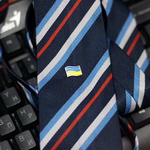 Срібна шпилька з емаллю Прапор України