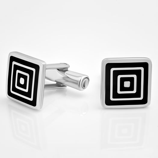 Серебряные запонки мужские с эмалью Гипноз